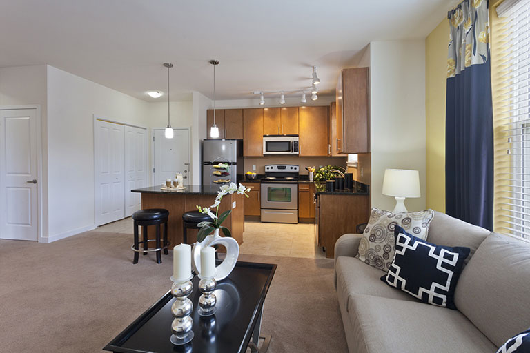 Interior living space & open kitchen at Dwell Cherry Hill luxury apartments